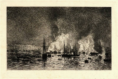 Maxime Lalanne French, 1827 - 1886. Fire In The Port Art Print