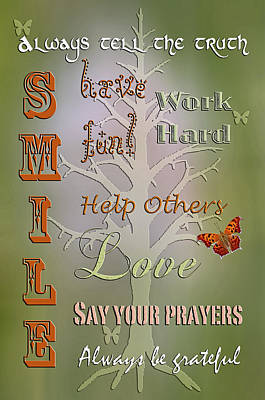 Maxims To Live By Art Print by Bonnie Barry