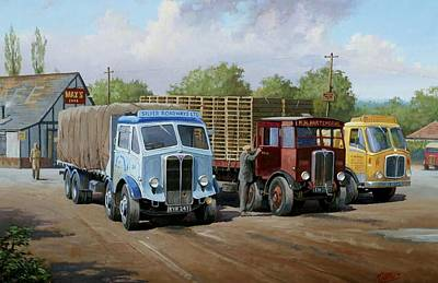 Nostalgia Painting - Max's Transport Cafe by Mike  Jeffries