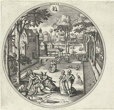 Spring Scenes Drawing - May, Adriaen Collaert, Hans Bol, Hans Van Luyck by Adriaen Collaert And Hans Bol And Hans Van Luyck