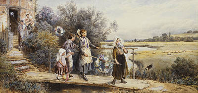Heightened Painting - May Day Garlands by Myles Birket Foster