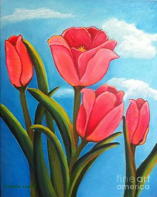 Painting - May Flowers - Pink Tulip Flowers by Shelia Kempf