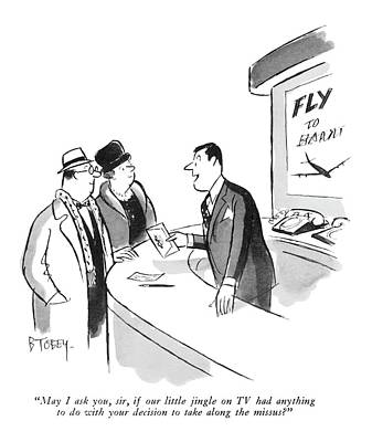 United Airline Drawing - May I Ask by Barney Tobey