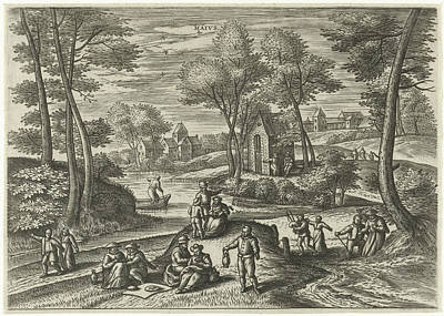 Spring Scenes Drawing - May, Julius Goltzius, Gillis Mostaert by Julius Goltzius And Gillis Mostaert (i) And Hans Van Luyck