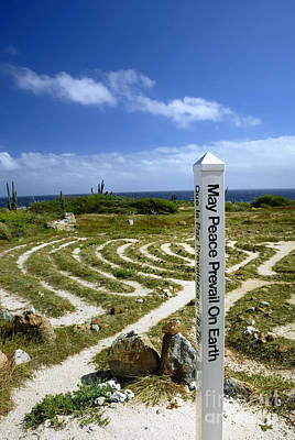 Aruba Photograph - May Peace Prevail On Earth Peace Labyrinth Aruba by Amy Cicconi
