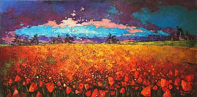 Poppies Field Painting - May Rain  by Anastasija Kraineva