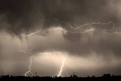 Photograph - May Showers - Lightning Thunderstorm Sepia 5-10-2011 by James BO Insogna