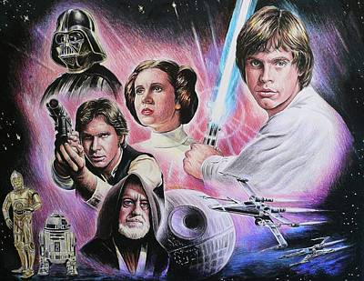 Movie Stars Drawings Drawing - May The Force Be With You by Andrew Read