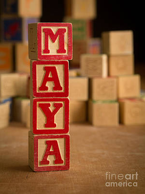 Photograph - Maya - Alphabet Blocks by Edward Fielding
