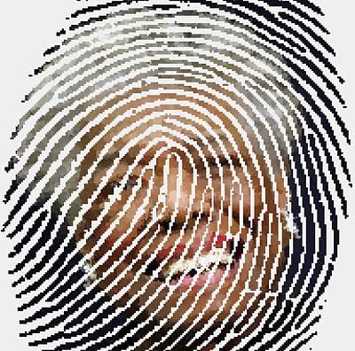 Painting - Maya Angelou - Fingerprint by Samuel Majcen