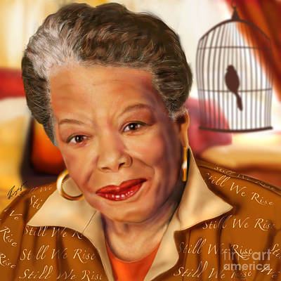 African-american Painting - Maya Angelou Rise Of The Song Bird by Reggie Duffie