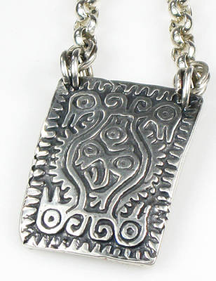 Jewelry - Mayan Earth Mother Talisman Fine Silver With Silver Rolo Cable Chain by Vagabond Folk Art - Virginia Vivier