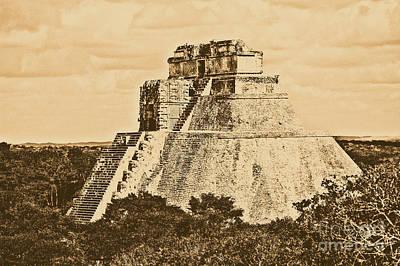 Photograph - Mayan Pyramid Of The Magician At Uxmal Mexico Rustic by Shawn O'Brien
