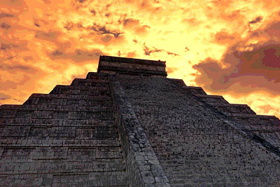 Photograph - Mayan Pyramid Posterized  by Ann Powell