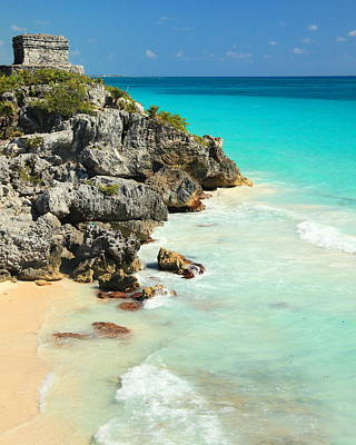 Rocky Coast Photograph - Mayan Temple And Turquoise Sea Tulum Mexico by Roupen  Baker