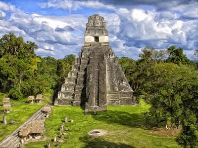 Mayan Painting - Mayan Temple At Tikal by Dominic Piperata