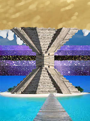 Mayan Temple Ships On 2 Worlds At Once Art Print by Bruce Iorio