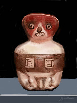Clay Drawing - Mayan Whistle by Jean Pacheco Ravinski