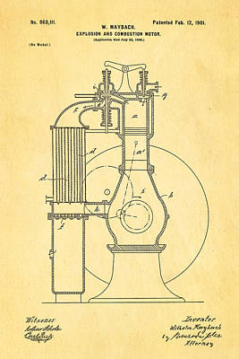 Combustion Photograph - Maybach Internal Combustion Engine Patent Art 1901 by Ian Monk