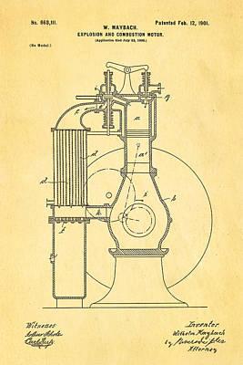 Maybach Internal Combustion Engine Patent Art 1901 Print by Ian Monk
