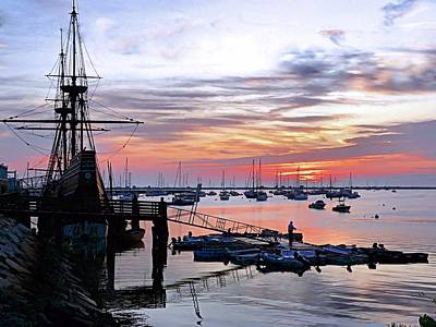 Art Print featuring the photograph Mayflower II At Sunrise by Janice Drew