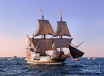 Mayflower II On Her 50th Anniversary Sail Art Print by Janice Drew