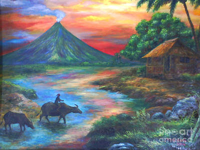 mayon sunset-repro from Amorsolo's work Art Print by Manuel Cadag