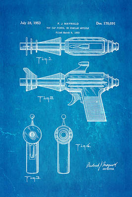 Maywald Toy Cap Gun Patent Art  2 1953 Blueprint Print by Ian Monk