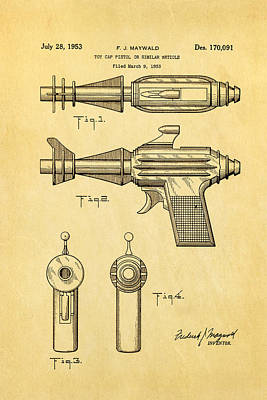 Maywald Toy Cap Gun Patent Art  2 1953 Art Print by Ian Monk