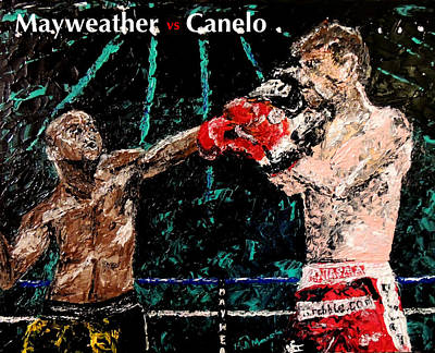 Boxing Painting - Mayweather Vs Canelo by Mark Moore