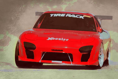 Digital Art - Mazda Rx7 Race Car Pop Art by Ernie Echols