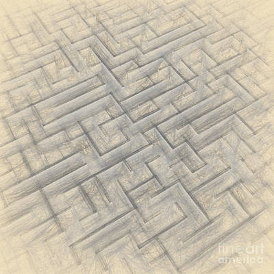 Chaos Maze Drawing - Maze Sketch by Carsten Reisinger