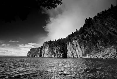 Trees And Lake Photograph - Mazinaw Rock Black And White by Cale Best