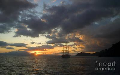 Photograph - Square Rigged Sailing Ship At Sunset 001621 by Colin Munro