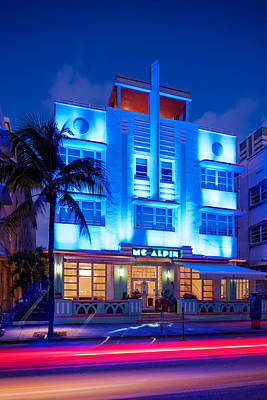 Mcalpin Hotel At Dawn Art Deco- South Beach Miami Beach Florida Art Print by Silvio Ligutti
