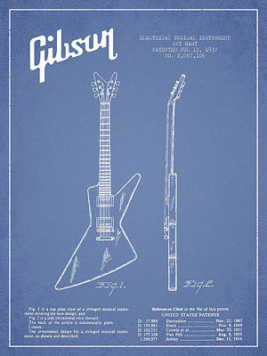 Smallmouth Bass Digital Art - Mccarty Gibson Electrical Guitar Patent Drawing From 1958 - Light Blue by Aged Pixel