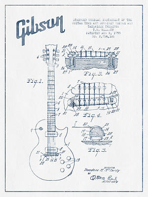 Ink Drawing Digital Art - Mccarty Gibson Les Paul Guitar Patent Drawing From 1955 - Blue I by Aged Pixel