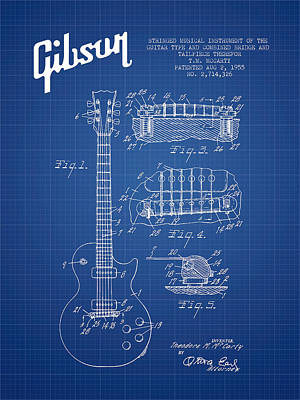 Acoustic Guitar Digital Art - Mccarty Gibson Les Paul Guitar Patent Drawing From 1955 - Bluepr by Aged Pixel