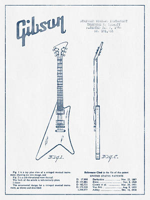 Acoustic Guitar Digital Art - Mccarty Gibson Stringed Instrument Patent Drawing From 1958 - Bl by Aged Pixel