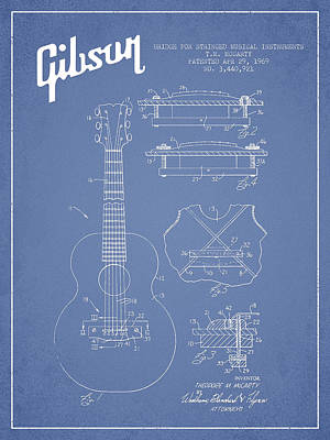 Bass Digital Art - Mccarty Gibson Stringed Instrument Patent Drawing From 1969 - Light Blue by Aged Pixel