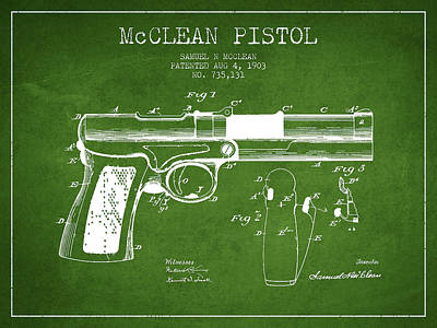 Mcclean Pistol Drawing From 1903 - Green Art Print by Aged Pixel