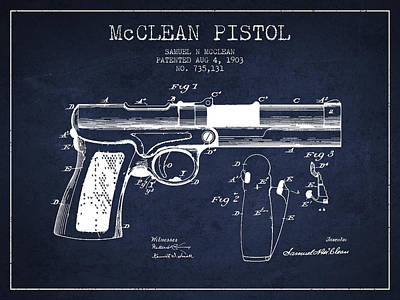 Mcclean Pistol Drawing From 1903 - Navy Blue Art Print by Aged Pixel
