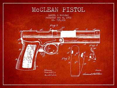 Mcclean Pistol Drawing From 1903 - Red Art Print by Aged Pixel