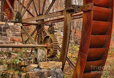 Photograph - Mcclung's Grist Mill Gears by Adam Jewell