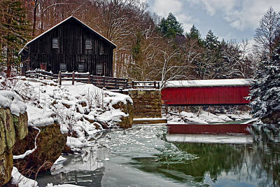 Grist Mill Photograph - Mcconnells Mill And Bridge by Marcia Colelli