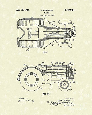 Tractor Drawing - Mccormick Tractor 1939 Patent Art by Prior Art Design