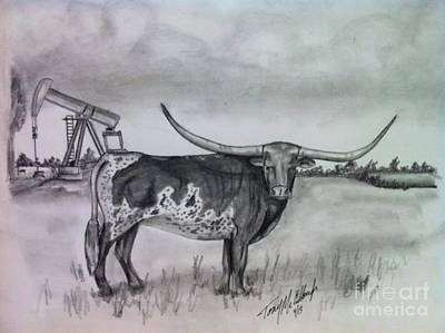 Longhorn Drawing - Mccullough by Tony