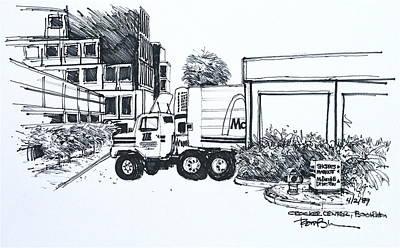 Mcdonalds Drawing - Mcdonalds Delivery Truck Unloading At Crocker Center. Boca Raton. Fl by Robert Birkenes
