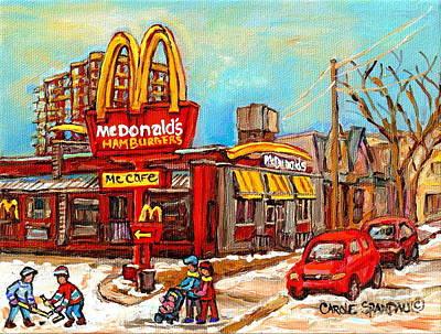 Row Houses.winter Scene Painting - Mcdonald's Restaurant Golden Arches Verdun Fast Food Restaurant Montreal Paintings Hockey Cspandau  by Carole Spandau