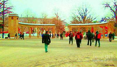 Roddick Gates Painting - Mcgill Univ Students And Faculty College Campus Montreal Memories Collectible Art Prints C Spandau by Carole Spandau
